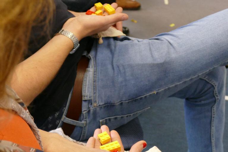 Lego-Steine, um eine Ente zu bauen (EiP Training II, Budapest, Februar 2019)